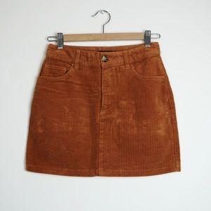 FOREVER 21 Corduroy Mini Skirt In Rust